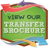 green background with bright colored arrows moving in different directions with View Our Transfer Brochure in white lettering