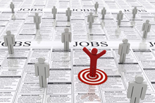 Image depicting a stick figure standing on job listings
